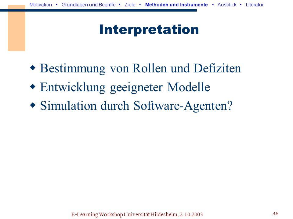 E-Learning Workshop Universität Hildesheim, 2.10.2003 35 Logfile-Analyser Motivation Grundlagen und Begriffe Ziele Methoden und Instrumente Ausblick Literatur