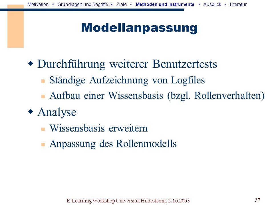 E-Learning Workshop Universität Hildesheim, 2.10.2003 36 Interpretation Bestimmung von Rollen und Defiziten Entwicklung geeigneter Modelle Simulation durch Software-Agenten.