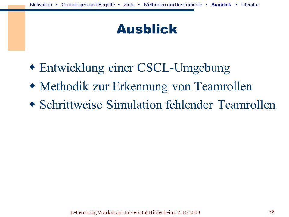 E-Learning Workshop Universität Hildesheim, 2.10.2003 37 Modellanpassung Durchführung weiterer Benutzertests Ständige Aufzeichnung von Logfiles Aufbau einer Wissensbasis (bzgl.