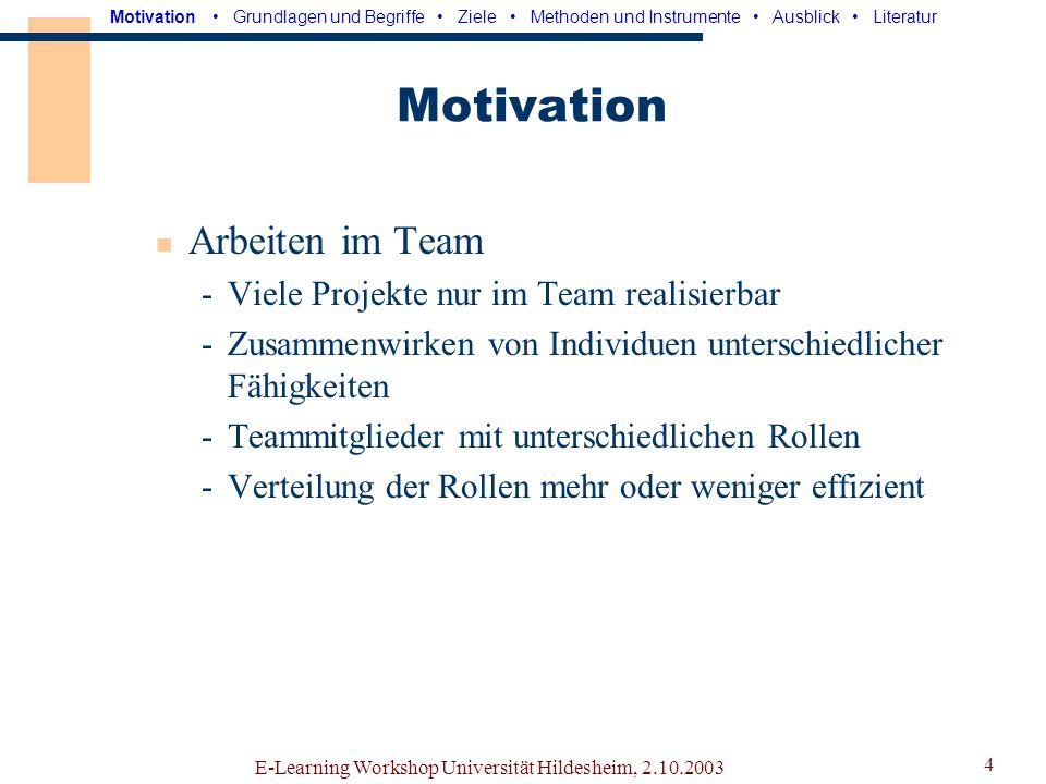 E-Learning Workshop Universität Hildesheim, 2.10.2003 3 Inhalt Motivation Grundlagen und Begriffe Ziele Methoden und Instrumente Ausblick
