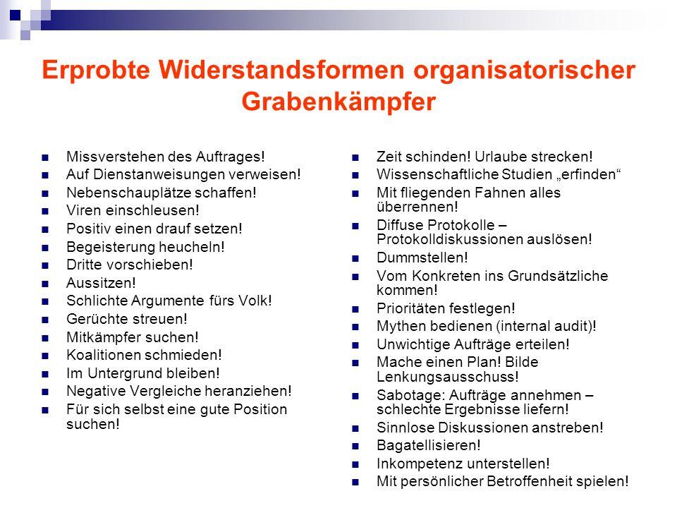 Erprobte Widerstandsformen organisatorischer Grabenkämpfer Missverstehen des Auftrages.
