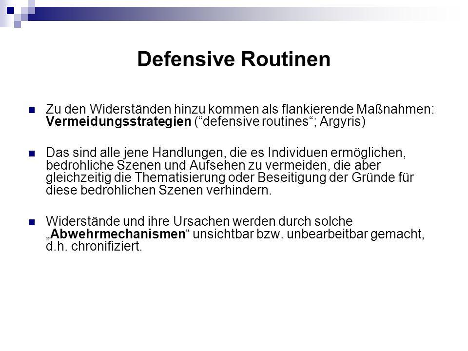 Defensive Routinen Zu den Widerständen hinzu kommen als flankierende Maßnahmen: Vermeidungsstrategien (defensive routines; Argyris) Das sind alle jene