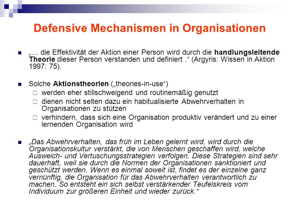 Defensive Mechanismen in Organisationen … die Effektivität der Aktion einer Person wird durch die handlungsleitende Theorie dieser Person verstanden u