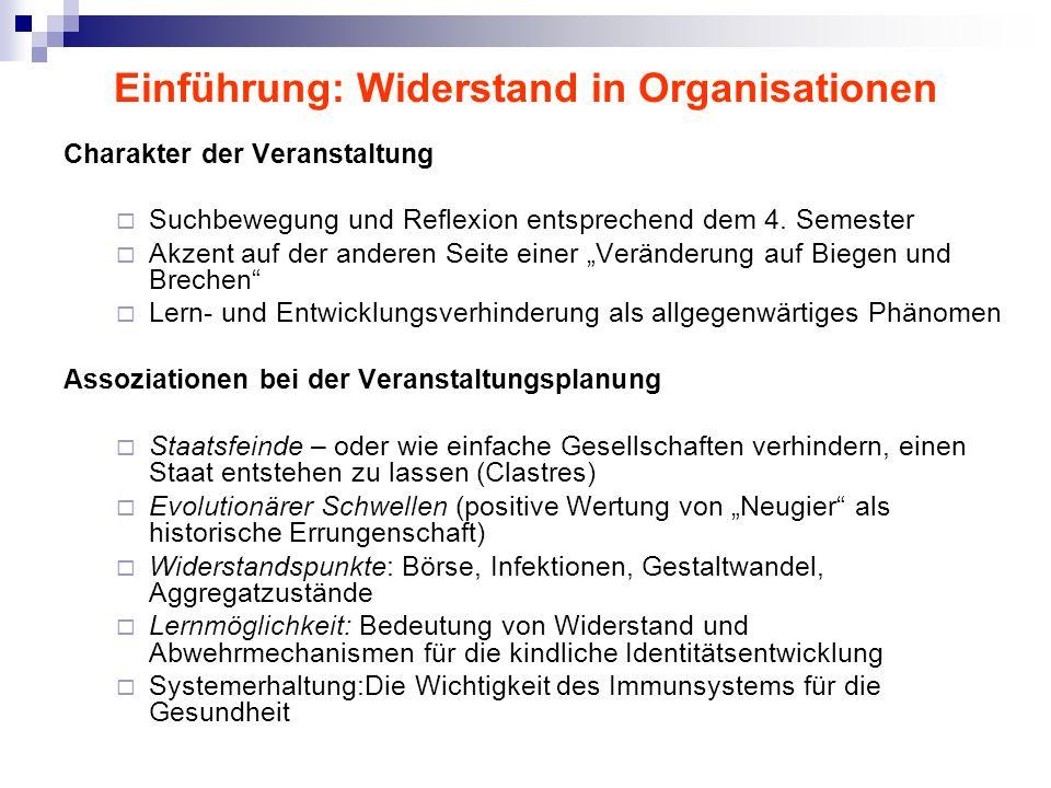 Einführung: Widerstand in Organisationen Charakter der Veranstaltung Suchbewegung und Reflexion entsprechend dem 4. Semester Akzent auf der anderen Se