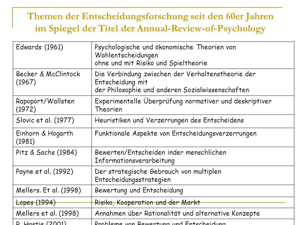 Edwards (1961)Psychologische und ökonomische Theorien von Wahlentscheidungen ohne und mit Risiko und Spieltheorie Becker & McClintock (1967) Die Verbi