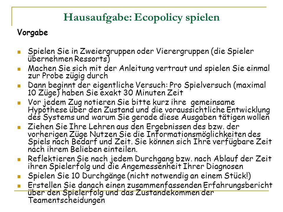 Hausaufgabe: Ecopolicy spielen Vorgabe Spielen Sie in Zweiergruppen oder Vierergruppen (die Spieler übernehmen Ressorts) Machen Sie sich mit der Anlei