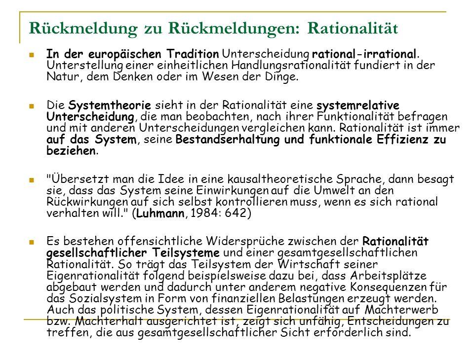Rückmeldung zu Rückmeldungen: Rationalität In der europäischen Tradition Unterscheidung rational-irrational. Unterstellung einer einheitlichen Handlun