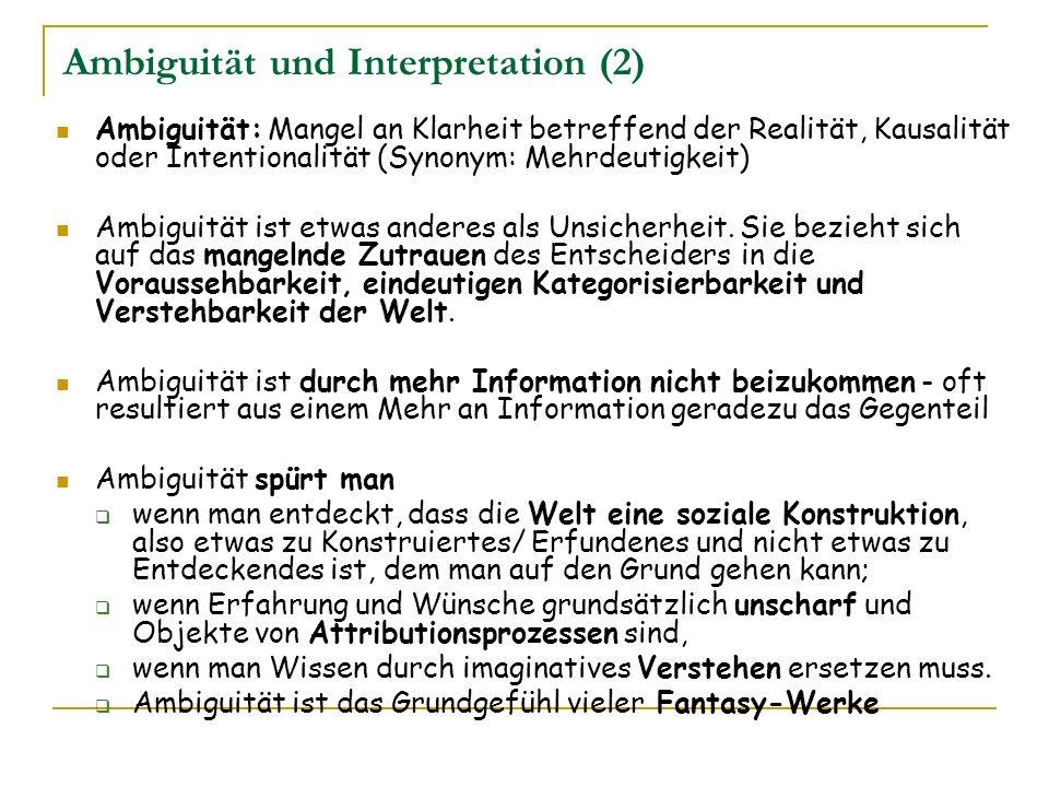 Ambiguität und Interpretation (2) Ambiguität: Mangel an Klarheit betreffend der Realität, Kausalität oder Intentionalität (Synonym: Mehrdeutigkeit) Am