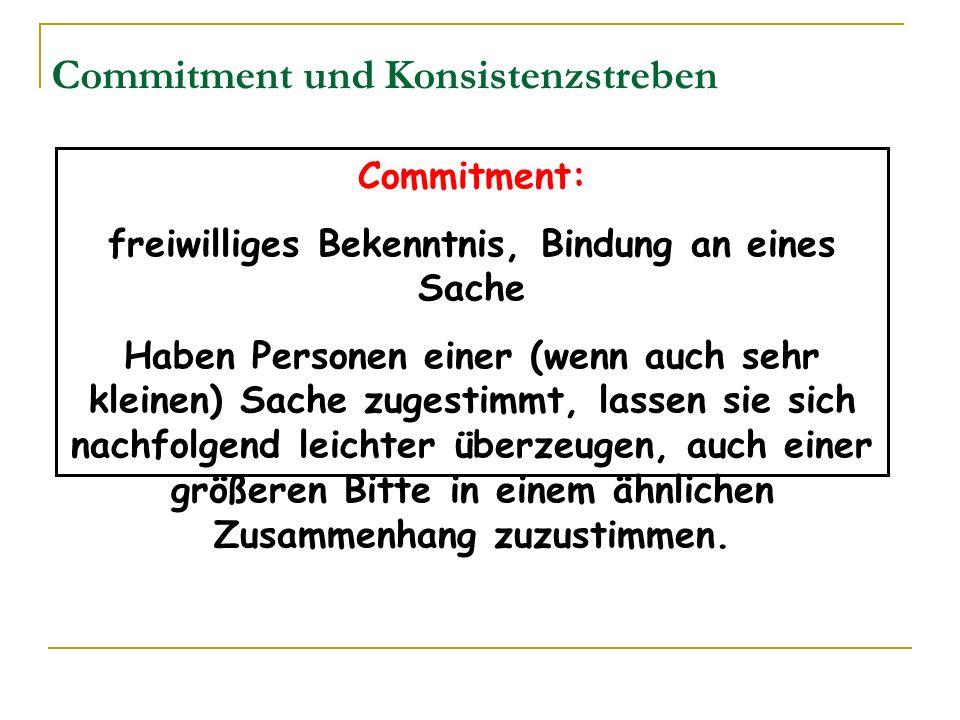 Commitment und Konsistenzstreben Commitment: freiwilliges Bekenntnis, Bindung an eines Sache Haben Personen einer (wenn auch sehr kleinen) Sache zuges