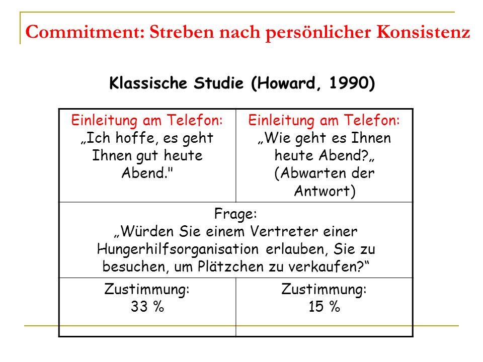 Commitment: Streben nach persönlicher Konsistenz Klassische Studie (Howard, 1990) Einleitung am Telefon: Ich hoffe, es geht Ihnen gut heute Abend.