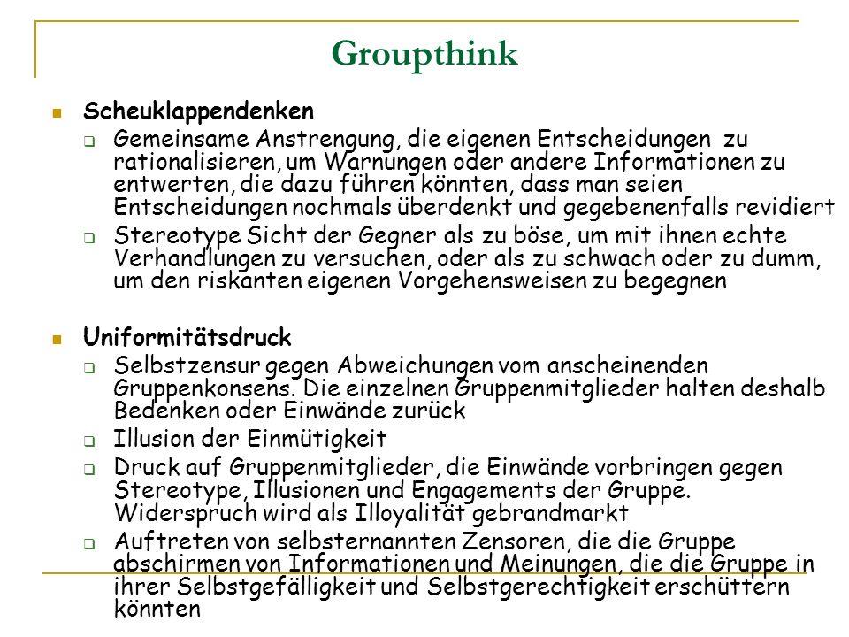 Groupthink Scheuklappendenken Gemeinsame Anstrengung, die eigenen Entscheidungen zu rationalisieren, um Warnungen oder andere Informationen zu entwert