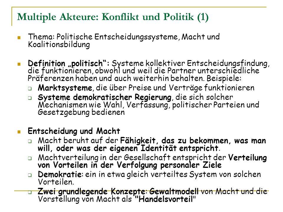 Multiple Akteure: Konflikt und Politik (1) Thema: Politische Entscheidungssysteme, Macht und Koalitionsbildung Definition politisch: Systeme kollektiv