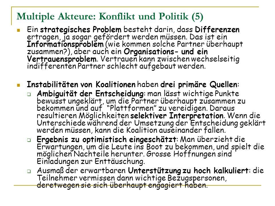 Multiple Akteure: Konflikt und Politik (5) Ein strategisches Problem besteht darin, dass Differenzen ertragen, ja sogar gefördert werden müssen. Das i
