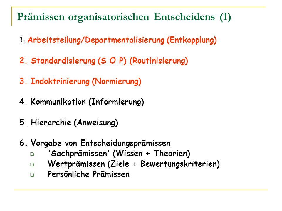 Prämissen organisatorischen Entscheidens (1) 1. Arbeitsteilung/Departmentalisierung (Entkopplung) 2. Standardisierung (S O P) (Routinisierung) 3. Indo