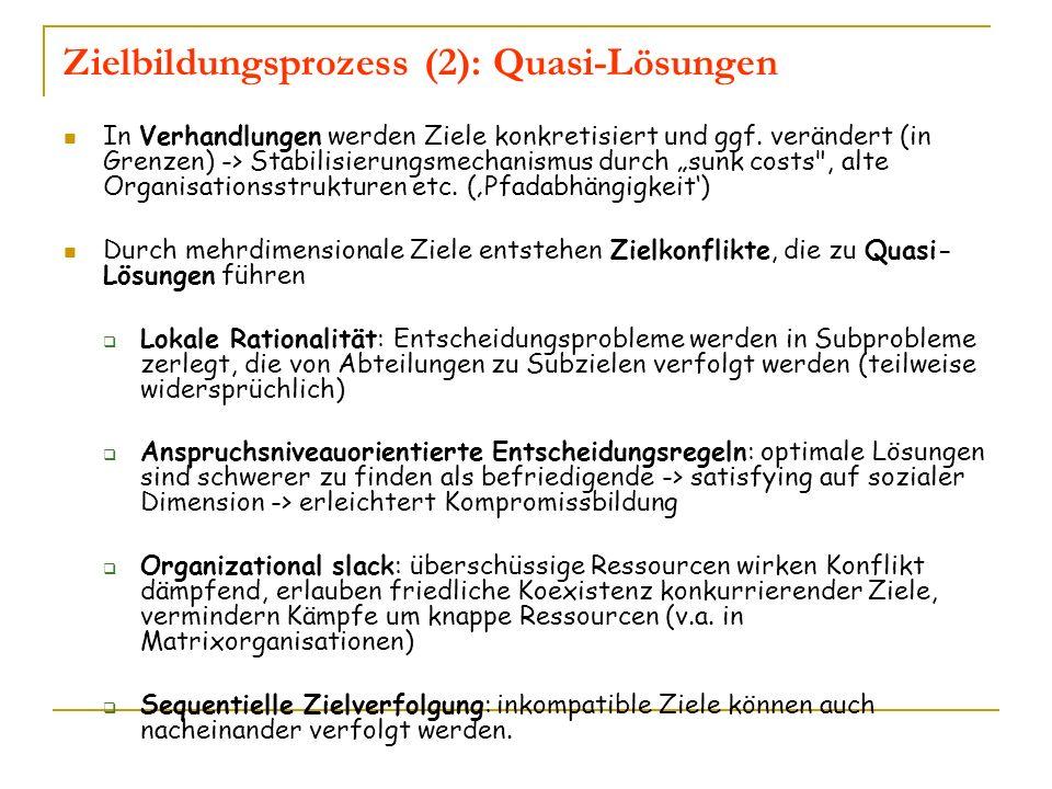 Zielbildungsprozess (2): Quasi-Lösungen In Verhandlungen werden Ziele konkretisiert und ggf. verändert (in Grenzen) -> Stabilisierungsmechanismus durc