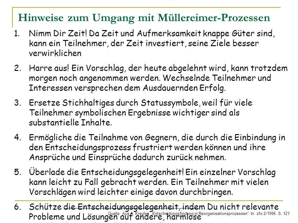 Hinweise zum Umgang mit Müllereimer-Prozessen Quelle: Aus A. Kreuter: Entscheidungsfindung in Reorganisationsprozessen. In: zfo 2/1996. S. 121 1.Nimm