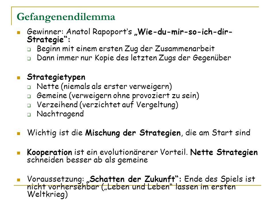 Gefangenendilemma Gewinner: Anatol Rapoports Wie-du-mir-so-ich-dir- Strategie: Beginn mit einem ersten Zug der Zusammenarbeit Dann immer nur Kopie des