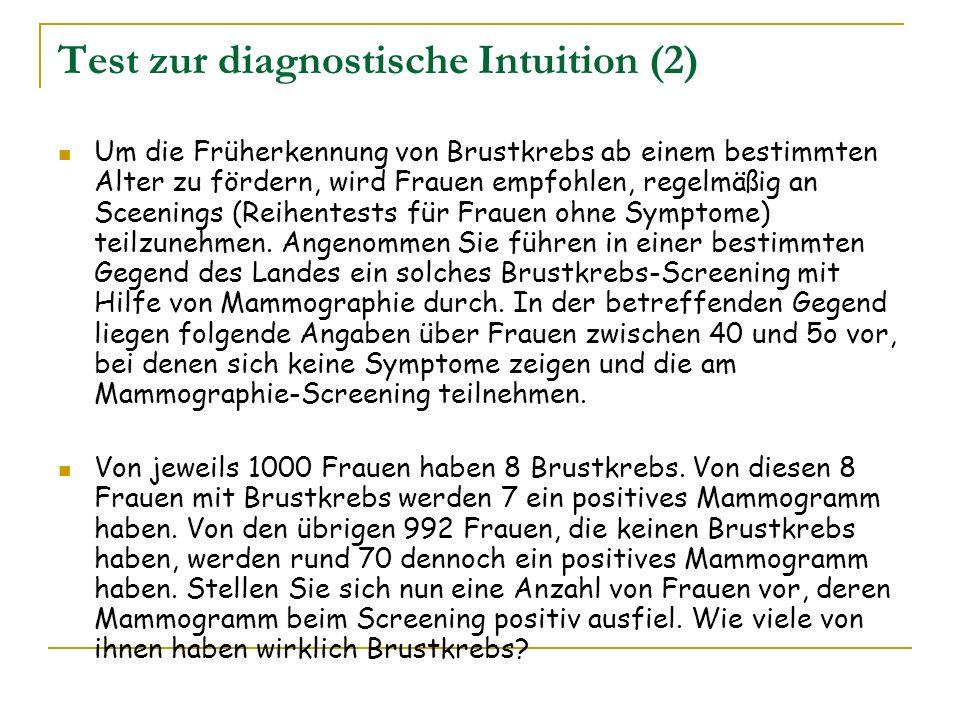 Test zur diagnostische Intuition (2) Um die Früherkennung von Brustkrebs ab einem bestimmten Alter zu fördern, wird Frauen empfohlen, regelmäßig an Sc