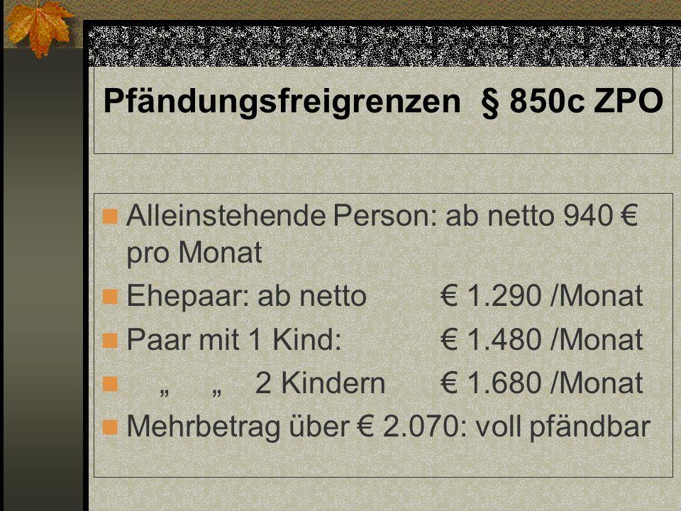 Pfändungsfreigrenzen § 850c ZPO Alleinstehende Person: ab netto 940 pro Monat Ehepaar: ab netto 1.290 /Monat Paar mit 1 Kind: 1.480 /Monat 2 Kindern 1