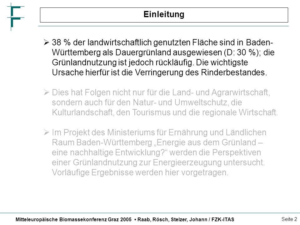 Mitteleuropäische Biomassekonferenz Graz 2005 Raab, Rösch, Stelzer, Johann / FZK-ITAS Seite 13 Wirtschaftlichkeit der Grasvergärung (1) Vollkostenrechnung für 5 ha Schlag, ohne Lohnkosten und ohne Wärmeerlös Flächenbezogene Gewinnrechnung der Stromerzeugung aus Grassilage 51 69 102 158 0 200 400 600 800 1000 1200 1400 1600 Allgäu 4-schnittig 9 t TM/ha Allgäu 3-schnittig 9 t TM/ha Albvorland 3-schnittig 7,25 t TM/ha Schwarzwald 2-schnittig 5,75 t TM/ha EUR/ha 0 200 400 600 800 1000 1200 1400 1600 Kosten Biogasanlage Bereitstellungskosten Grassilage Stromvergütung