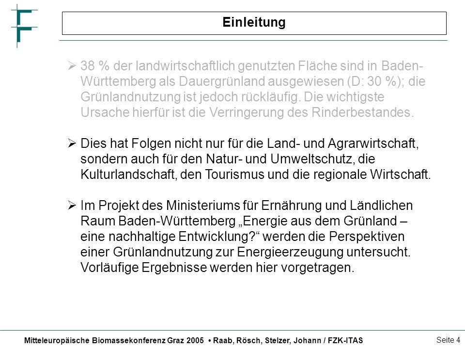 Mitteleuropäische Biomassekonferenz Graz 2005 Raab, Rösch, Stelzer, Johann / FZK-ITAS Seite 4 Einleitung 38 % der landwirtschaftlich genutzten Fläche sind in Baden- Württemberg als Dauergrünland ausgewiesen (D: 30 %); die Grünlandnutzung ist jedoch rückläufig.