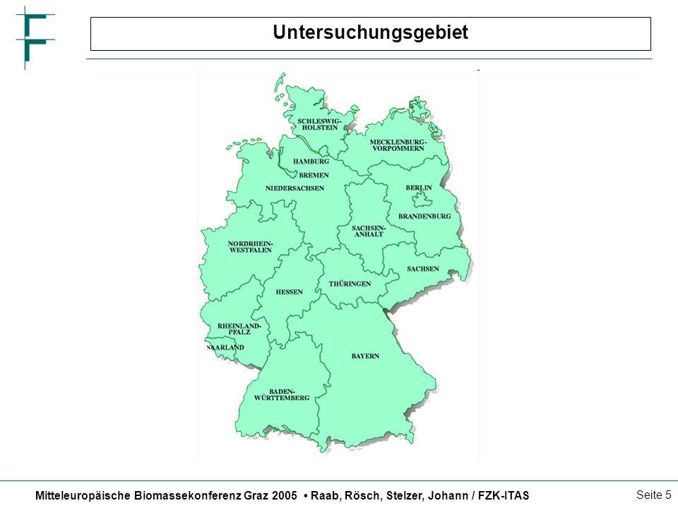 Mitteleuropäische Biomassekonferenz Graz 2005 Raab, Rösch, Stelzer, Johann / FZK-ITAS Seite 5 Untersuchungsgebiet