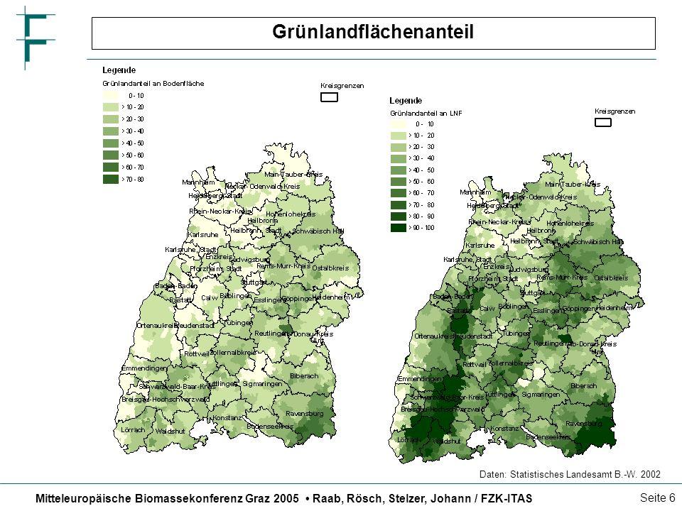 Mitteleuropäische Biomassekonferenz Graz 2005 Raab, Rösch, Stelzer, Johann / FZK-ITAS Seite 7 Ermittlung des Grünlandüberschusses PferdeSchafeMilchküheMutterküheKälberBullenFärsen Heu Maissilage Grassilage/FrischgrasGrassilage Weide Hutung Gesamtfutterbedarf Grünland-Flächenbedarf Tierart Grund- futter- ration pro Tier Anzahl der Tiere Ertrag pro Hektar tatsäch- liche Grün- land- flächen Überschussflächen Grünland-Flächenbedarf