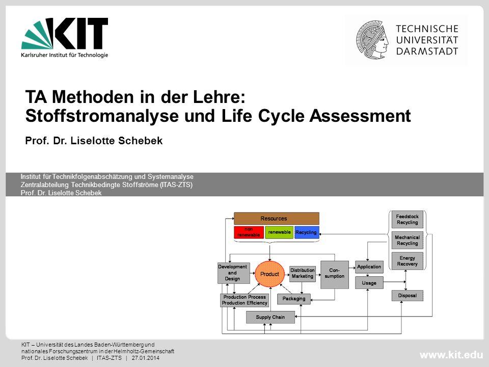 KIT – Universität des Landes Baden-Württemberg und nationales Forschungszentrum in der Helmholtz-Gemeinschaft Prof. Dr. Liselotte Schebek | ITAS-ZTS |