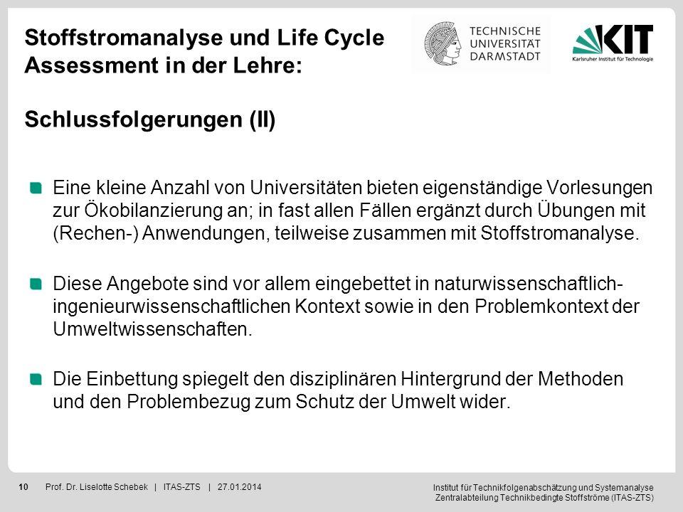 Institut für Technikfolgenabschätzung und Systemanalyse Zentralabteilung Technikbedingte Stoffströme (ITAS-ZTS) 10Prof. Dr. Liselotte Schebek | ITAS-Z