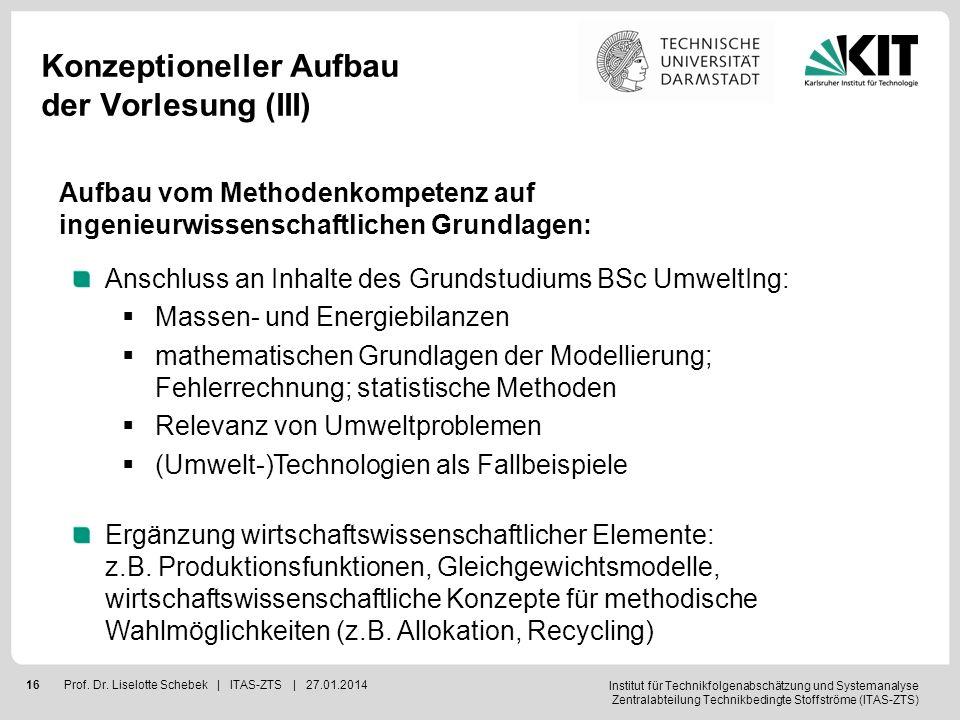 Institut für Technikfolgenabschätzung und Systemanalyse Zentralabteilung Technikbedingte Stoffströme (ITAS-ZTS) 16Prof. Dr. Liselotte Schebek | ITAS-Z