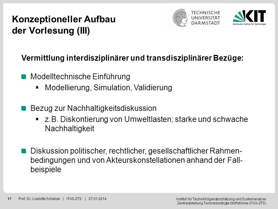 Institut für Technikfolgenabschätzung und Systemanalyse Zentralabteilung Technikbedingte Stoffströme (ITAS-ZTS) 17Prof. Dr. Liselotte Schebek | ITAS-Z