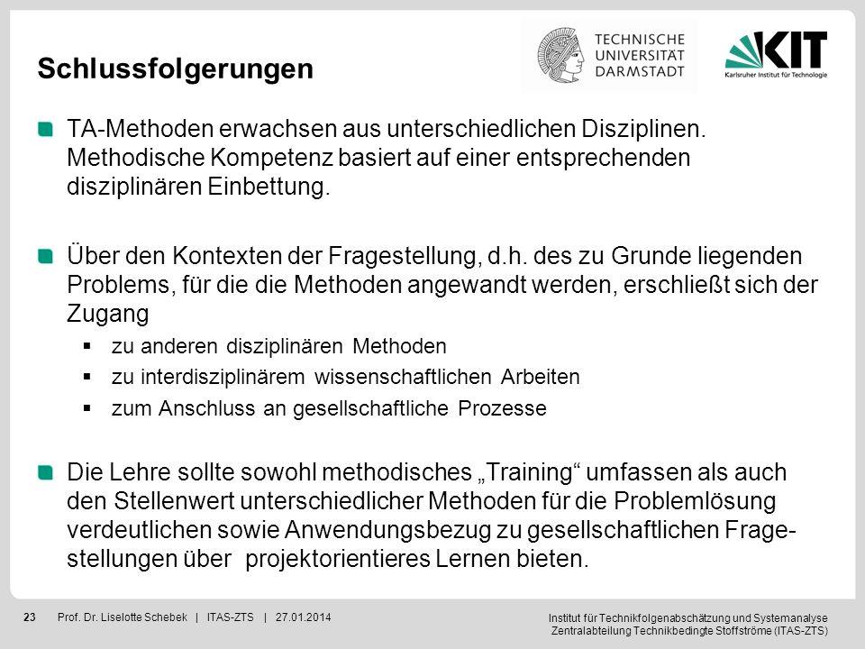 Institut für Technikfolgenabschätzung und Systemanalyse Zentralabteilung Technikbedingte Stoffströme (ITAS-ZTS) 23Prof. Dr. Liselotte Schebek | ITAS-Z