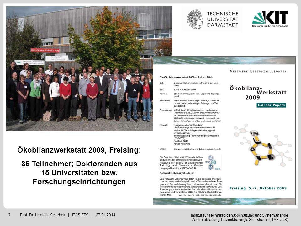 Institut für Technikfolgenabschätzung und Systemanalyse Zentralabteilung Technikbedingte Stoffströme (ITAS-ZTS) 3Prof. Dr. Liselotte Schebek | ITAS-ZT