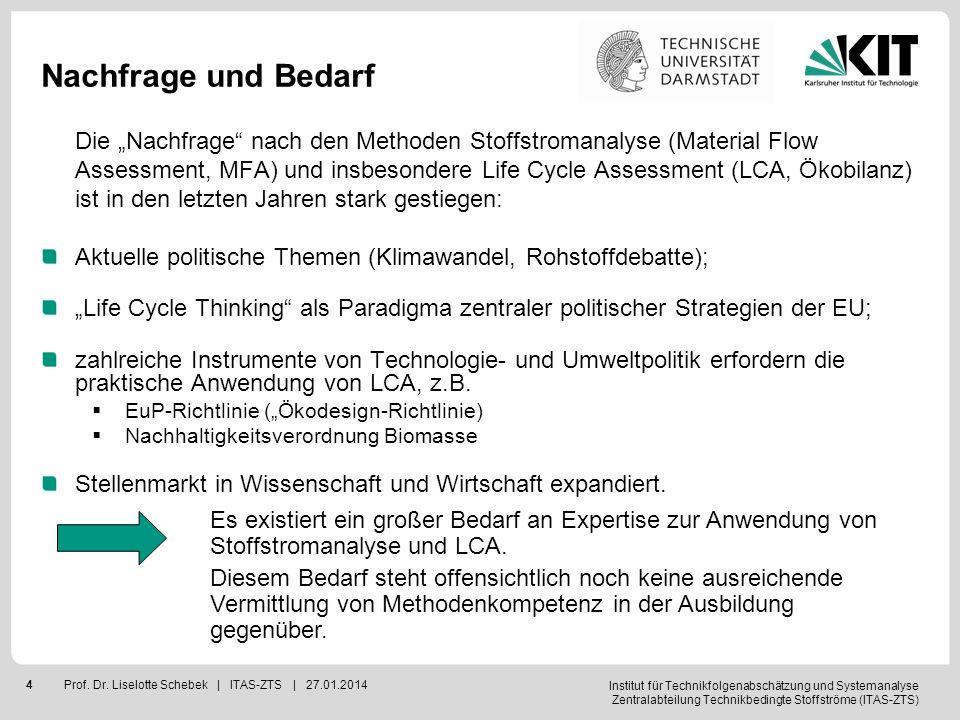 Institut für Technikfolgenabschätzung und Systemanalyse Zentralabteilung Technikbedingte Stoffströme (ITAS-ZTS) 4Prof. Dr. Liselotte Schebek | ITAS-ZT