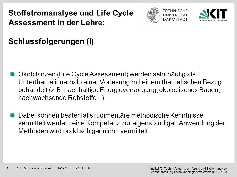 Institut für Technikfolgenabschätzung und Systemanalyse Zentralabteilung Technikbedingte Stoffströme (ITAS-ZTS) 9Prof. Dr. Liselotte Schebek | ITAS-ZT