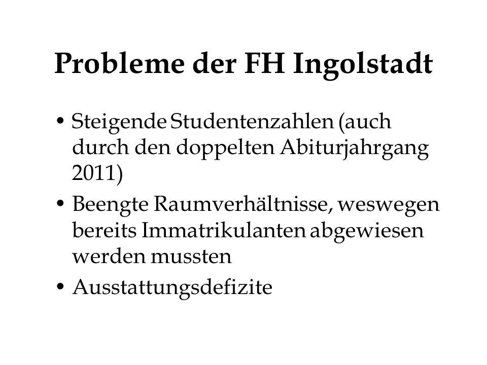 Probleme der FH Ingolstadt Steigende Studentenzahlen (auch durch den doppelten Abiturjahrgang 2011) Beengte Raumverhältnisse, weswegen bereits Immatrikulanten abgewiesen werden mussten Ausstattungsdefizite