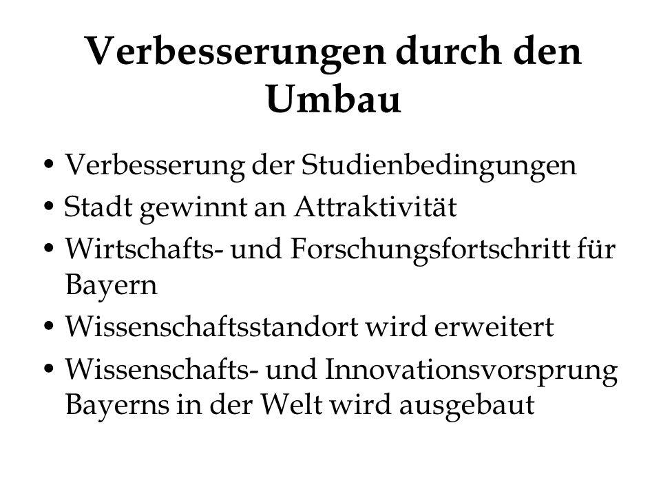 Verbesserungen durch den Umbau Verbesserung der Studienbedingungen Stadt gewinnt an Attraktivität Wirtschafts- und Forschungsfortschritt für Bayern Wissenschaftsstandort wird erweitert Wissenschafts- und Innovationsvorsprung Bayerns in der Welt wird ausgebaut