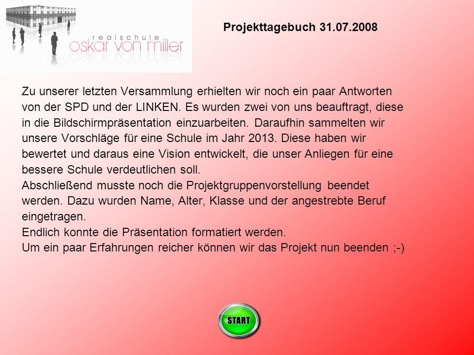 Zu unserer letzten Versammlung erhielten wir noch ein paar Antworten von der SPD und der LINKEN.