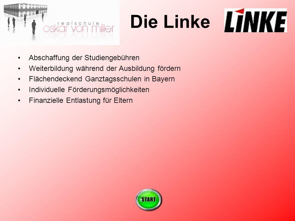 Die Linke Abschaffung der Studiengebühren Weiterbildung während der Ausbildung fördern Flächendeckend Ganztagsschulen in Bayern Individuelle Förderungsmöglichkeiten Finanzielle Entlastung für Eltern