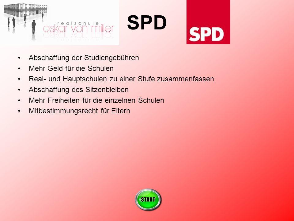SPD Abschaffung der Studiengebühren Mehr Geld für die Schulen Real- und Hauptschulen zu einer Stufe zusammenfassen Abschaffung des Sitzenbleiben Mehr Freiheiten für die einzelnen Schulen Mitbestimmungsrecht für Eltern