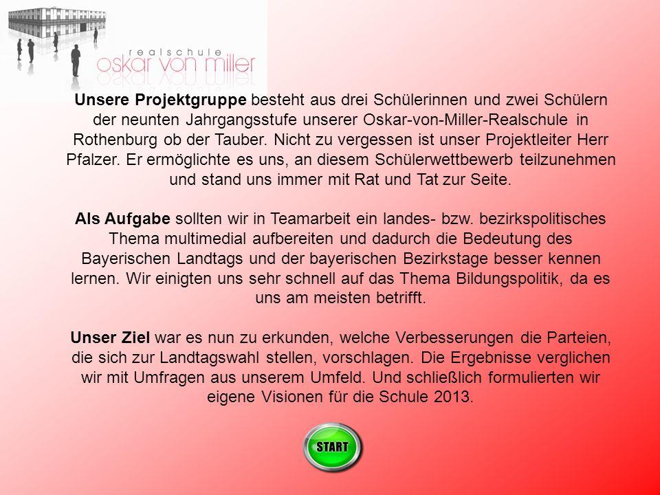 Unsere Projektgruppe besteht aus drei Schülerinnen und zwei Schülern der neunten Jahrgangsstufe unserer Oskar-von-Miller-Realschule in Rothenburg ob der Tauber.