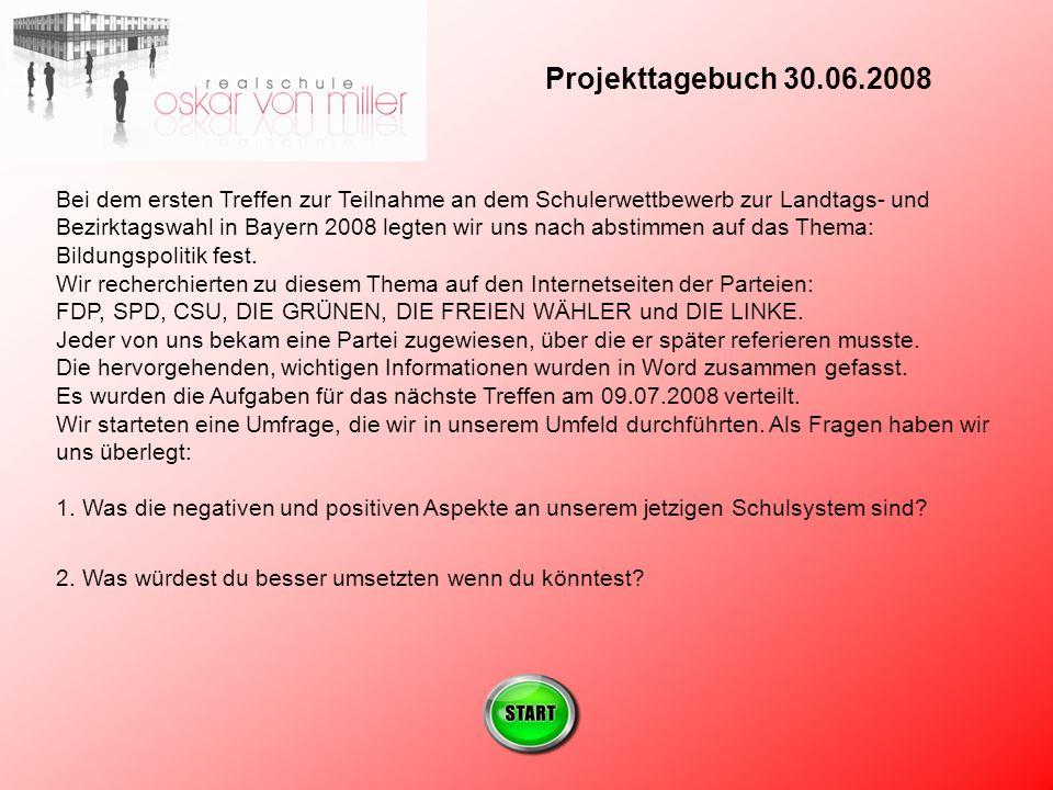 Projekttagebuch 30.06.2008 Bei dem ersten Treffen zur Teilnahme an dem Schulerwettbewerb zur Landtags- und Bezirktagswahl in Bayern 2008 legten wir uns nach abstimmen auf das Thema: Bildungspolitik fest.