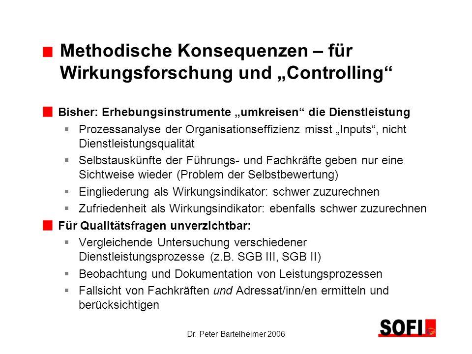 Dr. Peter Bartelheimer 2006 Methodische Konsequenzen – für Wirkungsforschung und Controlling Bisher: Erhebungsinstrumente umkreisen die Dienstleistung