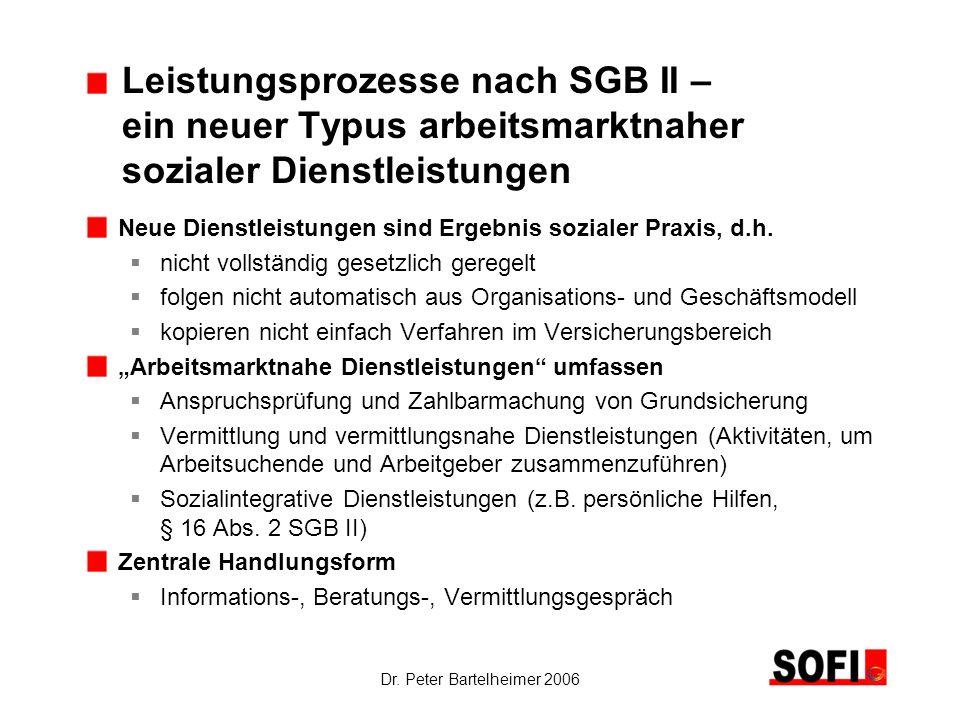 Dr. Peter Bartelheimer 2006 Leistungsprozesse nach SGB II – ein neuer Typus arbeitsmarktnaher sozialer Dienstleistungen Neue Dienstleistungen sind Erg