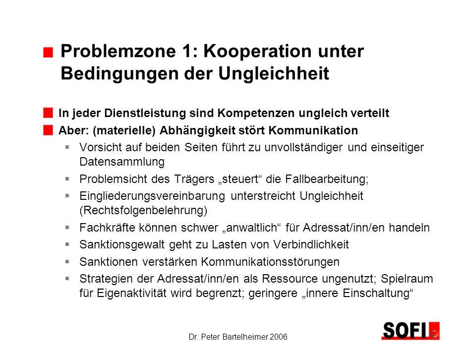 Dr. Peter Bartelheimer 2006 Problemzone 1: Kooperation unter Bedingungen der Ungleichheit In jeder Dienstleistung sind Kompetenzen ungleich verteilt A