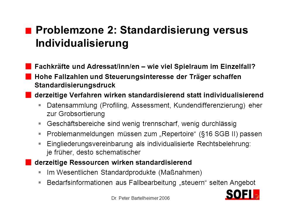Dr. Peter Bartelheimer 2006 Problemzone 2: Standardisierung versus Individualisierung Fachkräfte und Adressat/inn/en – wie viel Spielraum im Einzelfal