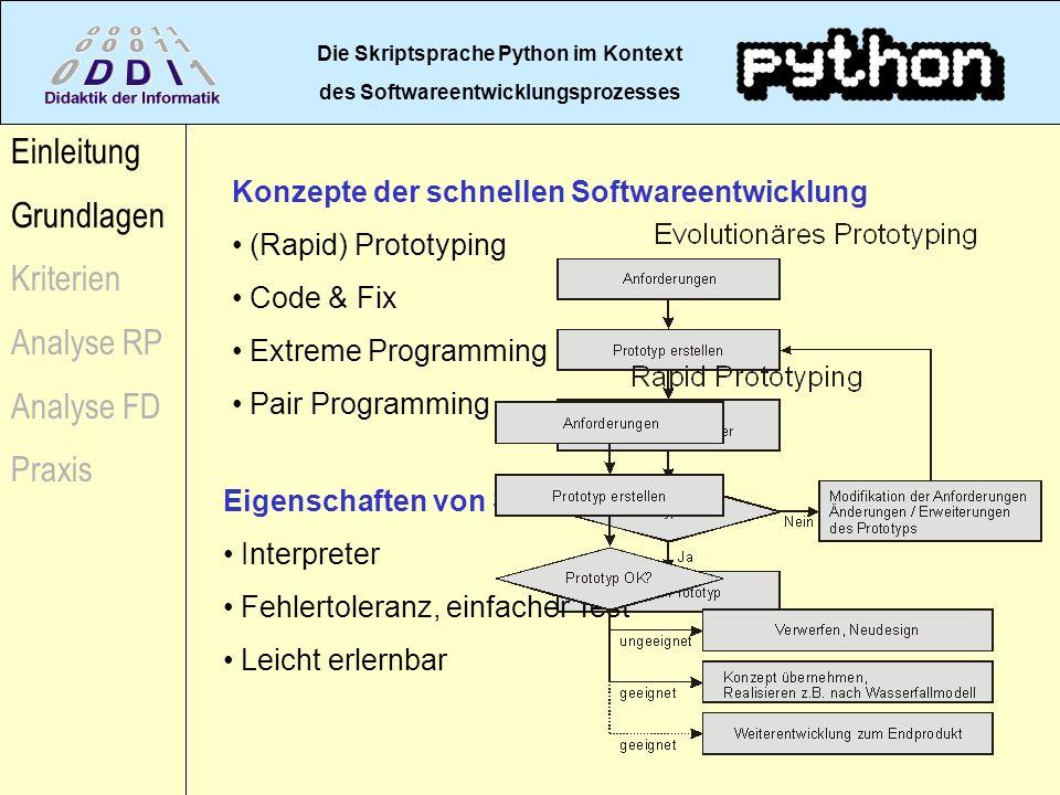 Die Skriptsprache Python im Kontext des Softwareentwicklungsprozesses Einleitung Grundlagen Kriterien Analyse RP Analyse FD Praxis Konzepte der schnel