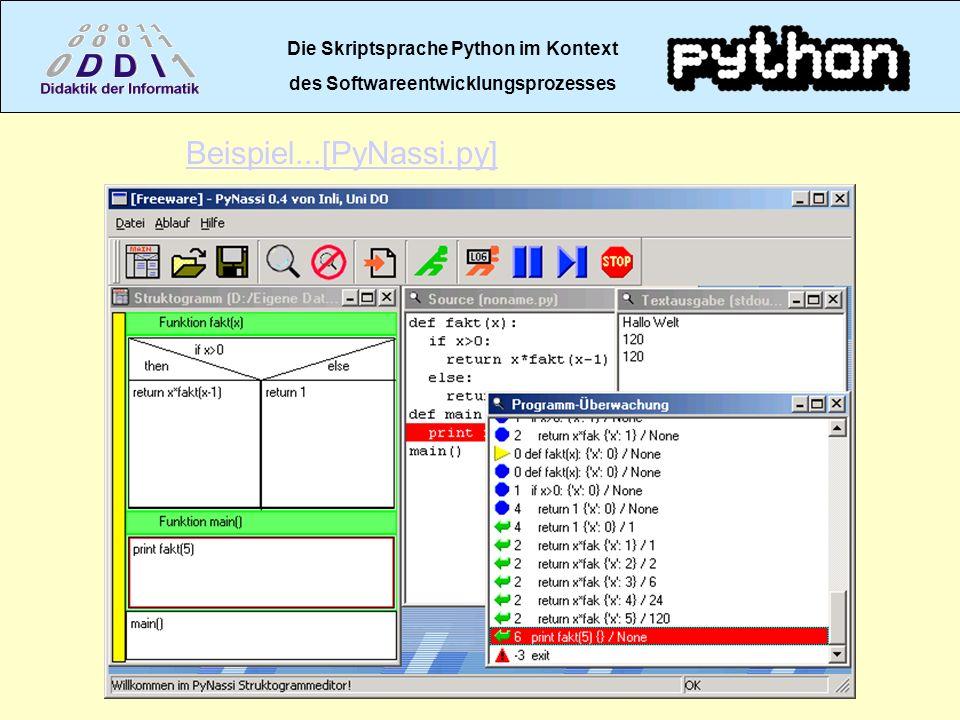 Die Skriptsprache Python im Kontext des Softwareentwicklungsprozesses Beispiel...[PyNassi.py]