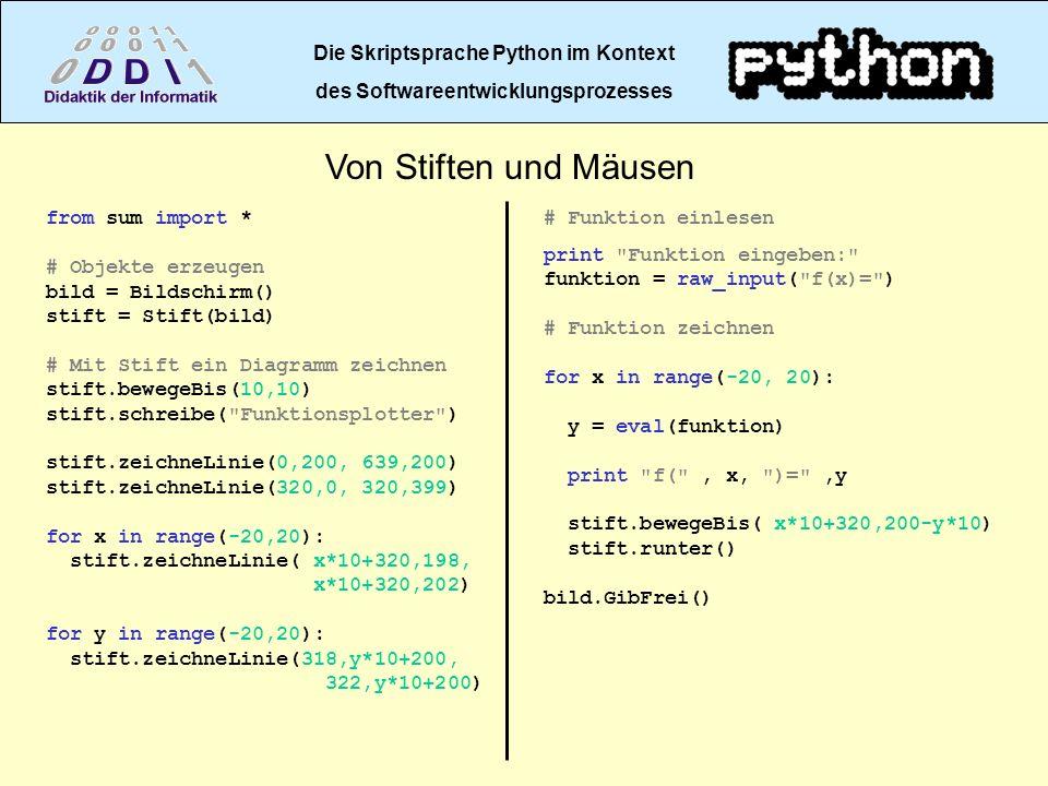 Die Skriptsprache Python im Kontext des Softwareentwicklungsprozesses Von Stiften und Mäusen from sum import * # Objekte erzeugen bild = Bildschirm()