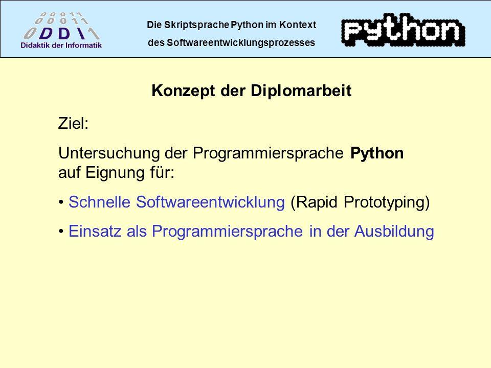 Die Skriptsprache Python im Kontext des Softwareentwicklungsprozesses Konzept der Diplomarbeit Ziel: Untersuchung der Programmiersprache Python auf Ei